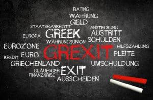 GREXIT | Griechenland Euro Exit auf Tafel mit Kreide