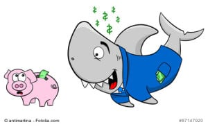 vector illustration of a smiling financial shark and a frightened piggy bank