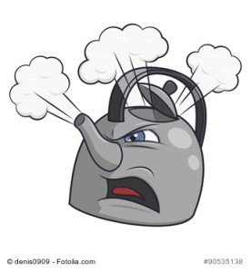Illustration of the angry tea kettle on white background