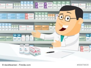 Pharmacist chemist man in pharmacy. Sale of vitamins and medications. Funny cartoon vector simple illustration.