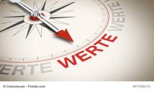 Kompass mit dem Wort WERTE